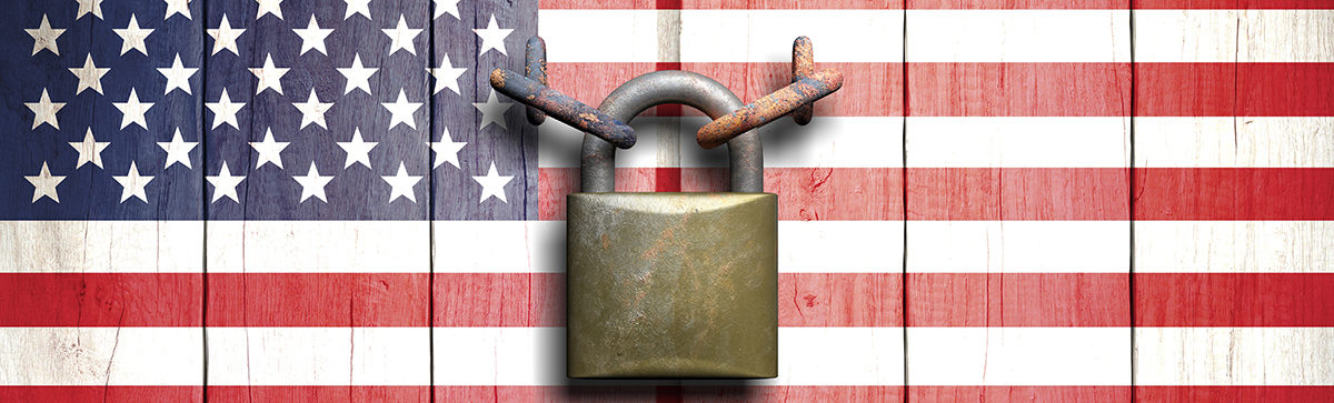 American Flag With Lock
