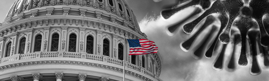 US Capitol dome with US flag and large COVID virus